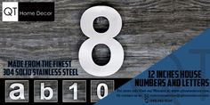 QT Home Decor #ModernHouseNumbers and #ModernHouseLetters are easy to read from a distance. Each numbers and letters are made from the best 304 Stainless Steel.  Contact and Buy Now! (949)342-5229 customerservice@qthomedecor.com