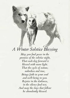 Wolf and Owl in Snow Winter Solstice Blessings by Stephanie Laird