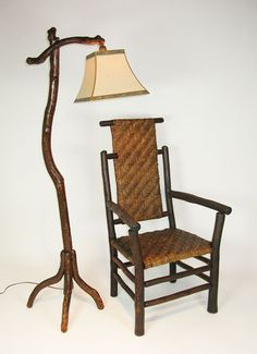 The rustic floor lamp,c 1920, with an old hickory chair.