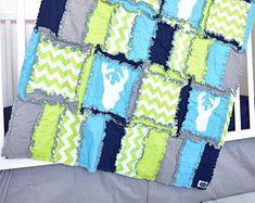 Woodland Crib Set- Green/ Navy/ Turquoise/ Grey Crib Bedding- Forest Nursery Deer Bedding- Adventure Nursery- Blanket/Sheet / Skirt / Bumper