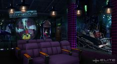 "This Joker's Lair themed home cinema idea is the perfect homage to Gotham's ""Clown Prince of Crime."" Customize your very home theater from Elite HTS today. Home Theater Seating, Home Cinemas, Back Doors, Movie Theater, Roller Coaster, Custom Homes, Man Cave, Joker, The Incredibles"
