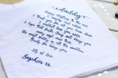 Looking for a personalised Daddy Gift? Our personalised hankies make a special Daddy Christmas gift! We also make versions for Mummys, Grandmas, Grandads and Nanas.  A gorgeous cotton hemstitch handkerchief, personalised with embroidered Daddy poem.  The hankie includes a special Daddy poem machine embroidered, and can be personalised with grandchilds name. It comes in a beautiful white gift box, with Kraft gift tag and Merry Christmas label.  ● Cotton hemstitch hankie ● Approx 45cm square ●…