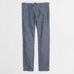 Linen/cotton. Slimmest fit. Sits below waist, slimmest through hip and thigh. 14 leg opening (based on size 32/32). Zip fly. Off-seam pockets, back welt pockets. Machine wash. Import.
