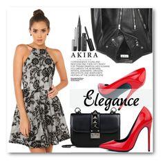 """Elegance"" by pokadoll ❤ liked on Polyvore featuring Akira Black Label, Valentino, Yves Saint Laurent, Hedi Slimane and shopakira"