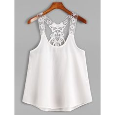 White Contrast Lace Crochet Cami Top (55 DKK) ❤ liked on Polyvore featuring tops, shirts, white, spaghetti strap tank tops, white lace cami, white lace camisole, lace camis and crochet vest