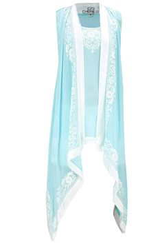 Aqua thread embroidered kaftan available only at Pernia's Pop-Up Shop.