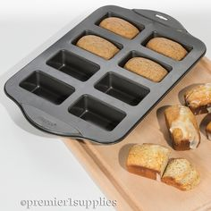Make 8 mini loaves in one pan. Works with meat loaf, fruit cake, banana, pumpkin and zucchini bread. Can also use to form softened butter.