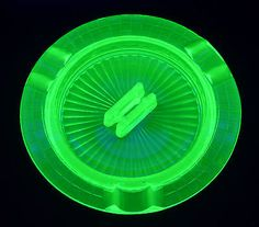 38ecd17731b0 1930 s Antique URANIUM Depression GLASS Green ASHTRAY with MATCHBOOK HOLDER