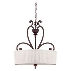 Scrolling pendant in oiled copper.  Product: Pendant    Construction Material: Metal and fabric    Color: Oiled copper and off-white   Features: Traditional style  Accommodates: (4) 100 Watt Incandescent bulbs - not included   Dimensions: 26.5 H x 22 Diameter
