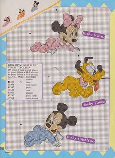 schema punto croce topolino minnie baby | Hobby lavori femminili - ricamo - uncinetto - maglia