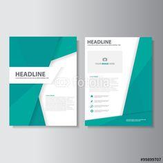 Vector: Abstract green brochure flyer leaflet presentation template flat design set for marketing advertising