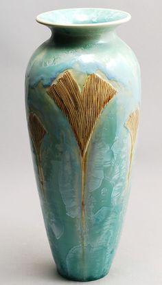 Golden Gingkoes on Aqua Crystalline Vase  Porcelain by DoorPottery, $224.00