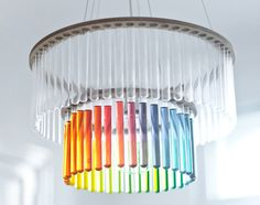 Test tube chandelier...rainbow style  I love that this idea allows me to change my style of choice whenever I want