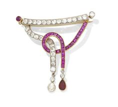 A mid-century ruby and diamond brooch