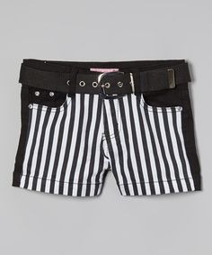 Look at this #zulilyfind! Black Stripe Shorts & Belt - Girls #zulilyfinds