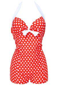 Super Cute Retro Vintage Figure Flattering Polka Dot High Waisted Bathing Suit 5 Color Options M-3XL