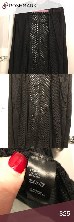 Plus Size Duster Crochet Cardigan Size 3X New without tags this I bought from Lord & Taylor and never ended up wearing. It's a long cardigan/duster that has a crochet look. It's black and you can see through a little bit on the back but you can't really see through on the arms. It's a size 3X and approximately 36 inches long. It's from a brand called Dex. Lord & Taylor Sweaters Cardigans
