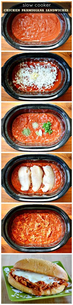Slow Cooker Chicken Parmigiana Sandwiches Recipe | Food Family & Finds