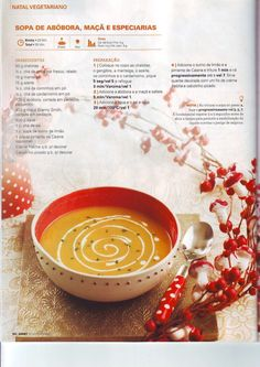 Revista bimby pt-s02-0025 - dezembro 2012 Panna Cotta, Food And Drink, Appetizers, Diet, Cooking, Tableware, Ethnic Recipes, Butternut Squash Soup, Spice