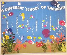 A Different School of Thought!    Shannon, our amazingly creative music and mathematics teacher made this fantastic 6-foot by 6-foot bulletin board for our school hallway. I wish this photo could convey the richness of colour, and the fact that the fish are actually popping off the bulletin board, not flat as they appear. Can't wait to see what she comes up with next!    Smart as she is, Shannon glued each piece of this bulletin board to one large continuous piece of blue background paper…