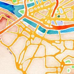 Type in a map, hit watercolor, print and frame!  Pittsburgh, PA btw!