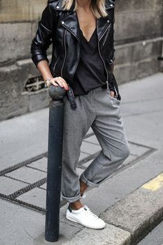 Leather Jacket + Lace Top + Smart Trousers + Sneakers