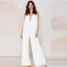 Sexy V-neck Backless High Waist Elegant Jumpsuit Plus Size Wide Leg Rompers Womens Jumpsuit Macacao Feminino Longo Overalls