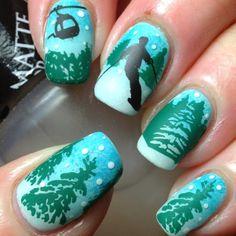 skiing nail art