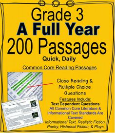 Literacy & Math Ideas: (Grade A Full Year of Daily Common Core Reading Practice Reading Practice, Reading Lessons, Reading Resources, Reading Skills, Teaching Reading, Guided Reading, Reading Strategies, Reading Help, Teaching Tools