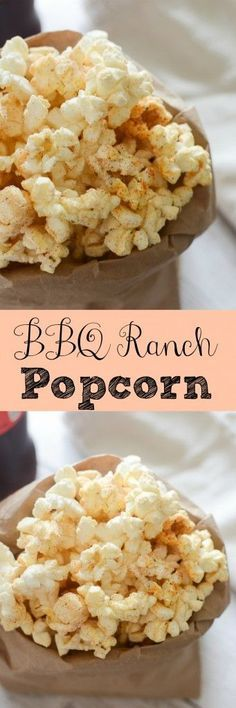 BBQ Ranch Popcorn recipe - a fun way to jazz up a plain bag of popcorn! And so easy! Interested in a popcorn wine pairings event. Popcorn Snacks, Gourmet Popcorn, Salty Snacks, Popcorn Recipes, Popcorn Balls, Popcorn Toppings, Popcorn Mix, Popcorn Kernels, Kid Snacks