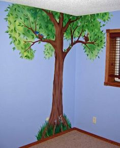 I like the individual leaves combined with the brushstrokes behind them...too cute for a kids room