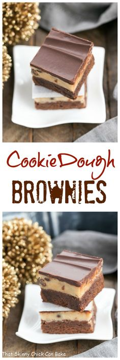Chocolate Chip Cookie Dough Brownies | 3 layers of chocolate deliciousness! @lizzydo