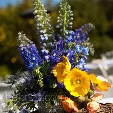 wedding flowers yellow orange blue green - Google Search