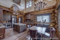 Luxurious Hand Crafted Log Properties from Lake Nation Western Pink Cedar Log Cabin Residence Kitche Kitchen Dining, Dining Room, Cedar Log, Cedar Homes, Timber Frame Homes, Log Cabin Homes, Western Red Cedar, Interior Photo, Western Decor