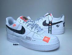 more photos fe881 93ac1 Nike Air Force 1 One Low 07 PRM JDI Just Do It White Black Orange AF1  AR7719 100   eBay