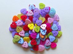 20 Colorful Heart Sewing Buttons by NanasButtonStash on Etsy