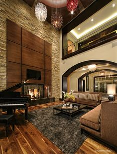 High ceiling family room