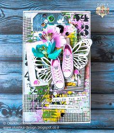 LikeArtStudio by Ola Khomenok: Follow the wind. Mixed Media card.