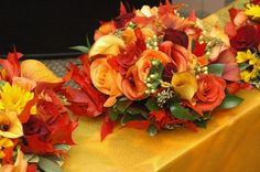 Flowers, Green, Red, Ceremony, Orange, Brown, Bridesmaids, Yellow, Gold, Inspiration, Board