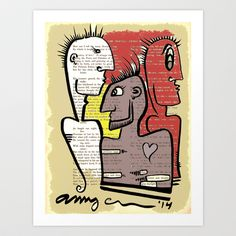 Three Punks dig on Thoreau Art Print by Amy Chace - $15.08
