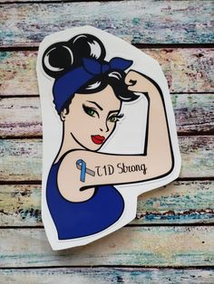 Strong Car Window Decal - Rosie the Riveter Style - Type 1 Diabetes Awareness Diabetes Memes, Type One Diabetes, Beat Diabetes, Diabetes Tattoo Type 1, Rosie The Riveter, Diabetes Supplies, Cure Diabetes Naturally, Diabetes Awareness, Car Window Decals