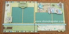 Two Page Scrapbook layout page kit Skylark shabby chic girl #ctmh #scraptabulousdesigns #simplyscraptabulous #scrapbooking: