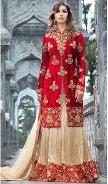 Red Color Velvet Pakistani Abaya Style Stitched Salwar Kameez | FH471773167