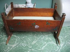 Vintage cradle rustic with addition of stencil 1940/50 by NorDass on Etsy https://www.etsy.com/listing/259591998/vintage-cradle-rustic-with-addition-of