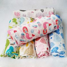 Baby  muslin blanket  baby swaddle Cartoon Printed Cotton Baby Blanket Soft Breathable For Newborn
