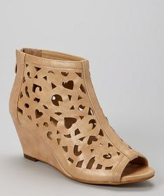 Loving this Nude Peep-Toe Wedge Bootie on #zulily! #zulilyfinds $27.99, usually 99.00