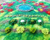 Hand felted Waldorf Steiner Imaginative pretend play story mat wool felt silk nature garden path flowers. $45.00, via Etsy.