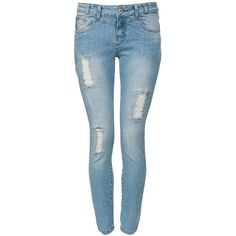 30in Light Blue Faded Ripped Skinny Jeans ($39) ❤ liked on Polyvore