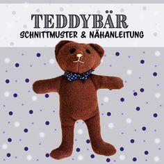 DIY / Nähen: Anleitung und Schnittmuster für einen einfachen Teddybär als Kuscheltier. Ideal auch für Nähanfänger und Kinder Plushies, Teddy Bear, Kitty, Toys, Animals, Sewing Art, Simple, Daycare Ideas, Stuffed Toys