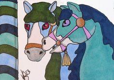 ACEO CAROUSEL PASTEL HORSES ON EBAY